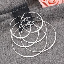 Femmes Design Simple plaqué argent 2mm mince poli rond créoles