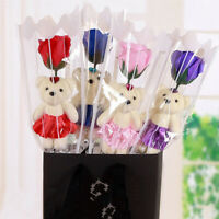 Am _ Süß Bär Puppe Seife Rose Blume Hochzeit Party Valentinstag Geschenk 1 Teile