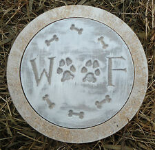 """Dog mold 10"""" stepping stone woof plastic mold plaster mould"""