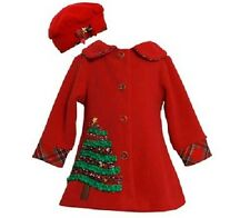 Bonnie Jean Girls Red Fleece Trim Christmas Tree Holiday Coat & Hat Set 2T New