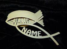 10 Stück Fisch Tischdeko mit Namen zur Taufe - Kommunion - Junge Mädchen Deko