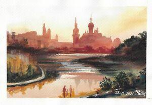 original painting A4 134RK art samovar watercolor modern cityscape sunset