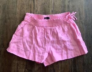 J.CREW Pink Linen Elastic Stretch Waist Mini Shorts Size XS Tie Side