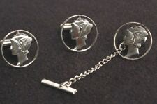 Mercury Head Dime Cufflinks and Tie Tack Sterling Silver MCM