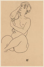 Egon Schiele Drawing Reproductions: Reclining Nude - Fine Art Print