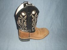 Old West Cowboy Boots Boys Girls Kid Square Rubber Brown  BSC1814 SIZE 015