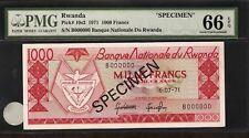 Rwanda 1000 Francs 1971 Specimen Pmg 66 Epq Unc Pick # 10s2