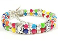 Womens Bracelet Multicoloured colourful Silver Plated Craft Wire Flexible Bead