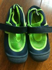 boys CAT & JACK WATER SHOES navy lime BEACH POOL slip on CLEAN! soft SIZE 11/12