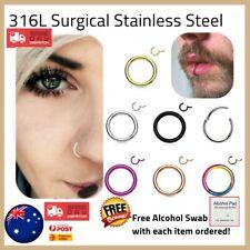 316L Steel Hinged Segment Clicker Hoop Ring Lip Ear Nose Body Piercing AUS