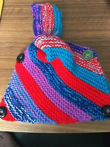 New Hand Knitted Multi Coloured Stripe Funky Design Tea Cosy