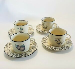 Rayware Cups & Saucers Set of 4 Spears of Asparagus Serving Tableware