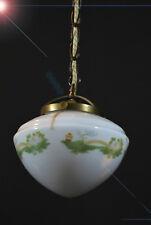 Early Art Deco Bronce Opalina Vaso de Leche Luz de Techo Colgante Plato Pintado A Mano