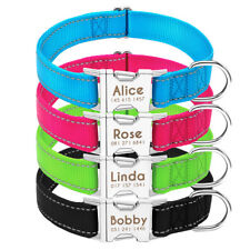 Reflective Personalised Dog Collars with Name Plate Free Engraved 5 Colors S M L