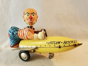 "7"" Lg 1950's Western Germany Karl Bub Tin Windup Atom Rocket Space Toy NO Res"