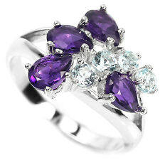 Natural Purple AMETHYST SKY BLUE TOPAZ Birthstone 925 STERLING SILVER RING S7.0