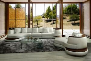 Divani Casa 105 Rodus Sectional Sofa and Chaise Set in White Italian Leather