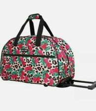 Betsey Johnson LEOPARD /Floral Roses Rolling Travel Luggage Weekender Bag NWT