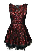 Dark Star Dress Black and Red Sleeveless With Rose Design. Size 18