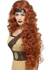 Medieval Queen Wig Auburn Warrior Braveheart Long Curly Fancy Dress Accessory Ne