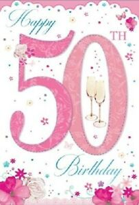 Age 50 Fifty Birthday Card with Pink Flowers and Champagne Prosecco Glasses