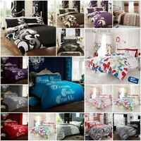 New Printed Duvet Cover with Pillow Case Quilt Cover Bed Set Single Double King