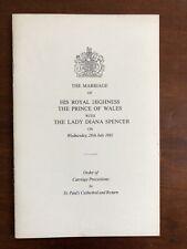 Princess Diana Wedding Procession Prince Charles Of Wales Royal Memorabilia