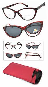 Cat Eye Frame Magnetic Clip-On Polarized Sunglasses On Bifocal Reading Glasses