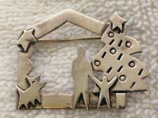 VINTAGE STERLING SILVER FAR FETCHED CHRISTMAS TREE DOG PIN BROOCH