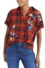 Worn Once Madewell Red Plaid Embroidered Floral Central Oversized Shirt Top S/M