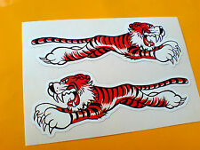 LEAPING TIGER Classic Vintage Car Stickers Decals 2 off 125mm