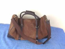 Marlboro Brown Suede Leather Duffle Tote Bag Gym Travel CarryOn Luggage 21""