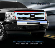 Black Mesh Grille Front Rivet Upper Grill For 2007-2013 Chevy Silverado 1500