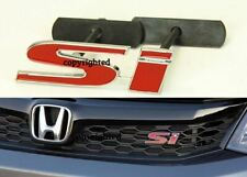"Bolt On 3D 4"" x 1.2"" SI Red Chrome Grill Emblem Decal Logo Badge for All Civic"