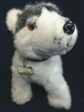Alaskan Siberian Husky Wolf Puppy Dog Plush Gray White Brown Eyes w Collar & Tag