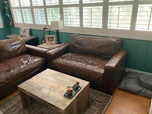 Restoration Hardware 5' Maxwell Petite down filled Leather Sofa