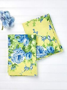 NWT April Cornell Yellow Blue Cottage Rose Cotton Waffled Set of 2 Tea Towels