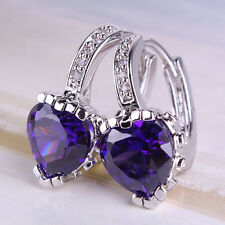 HUCHE Lovely Heart Purple Rhinestone Amethyst Silver Gold Filled Lady Earrings