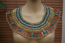 Egyptian Hand Made Beaded Cleopatra 7 Scarab Necklace Collar