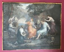 Antique 18th Century Angelica Kauffman Hand Coloured Etching Sorrow Telemachus