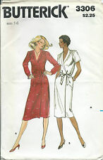 B 3306 sewing pattern WRAP DRESS Shawl Collar sew trapunto detail at shoulder 14
