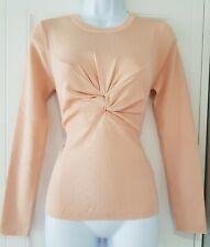 Womens Zara Peach Pink Twisted Chest Fine Knit Figure Hugging Stretch Jumper L.