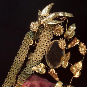 "Antique vtg wide gold metallic trim scalloped metal braid lace lampshade 1-5/8"""