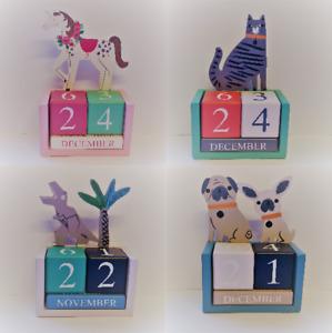 Wooden Block Desk Calendar Painted Gisela Graham Unicorn Dinosaur Pug Dog Cat