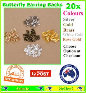 20x Earring Back Backs Backings Butterfly Silver Gold Stops Hypoallergenic Metal