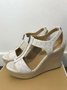 New in BOX MICHAEL KORS MK LOGO Heels SANDALS WEDGE WHITE PLATFORM Shoes Sz 7.5