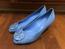 Tory Burch Blue Wedges Amanda Patent Leather Size 10.5