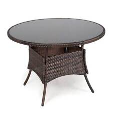 Outdoor Round Rattan Table Glass Top Decor Garden Furniture Patio Dining Tables