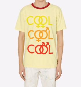 BIANCA CHANDÔN Mens COOL COOL COOL T-shirt (XL) Yellow Cotton Made USA New w/Tag