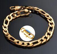 18k Yellow Gold Mens Womens Figaro Cuban Curb Link Chain Bracelet w Gift Pg D698